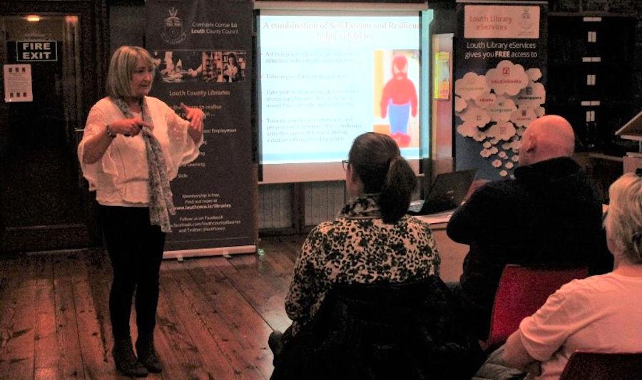 Dr Mary O'Kane at a presentation